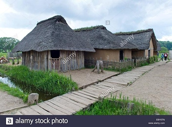 reconstructed-viking-houses-with-thatched-roofs-hedeby-viking-museum-EBY0TN